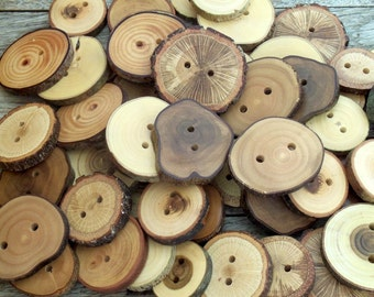 Wood Buttons - Branch Buttons - 20 Buttons - 7 Kind Tree Branch Buttons - 1  -  2 inches in diameter