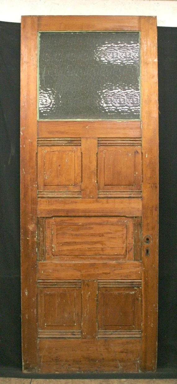 34x90 Antique Exterior Door Floral Textured Glass