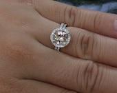 Round Morganite Engagement Ring and Diamond Wedding Band Bridal Ring Set in 14k White Gold with Morganite Round 8mm