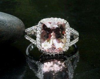 Morganite Split Shank Ring Engagement Ring Cushion 11x9mm and Diamond Halo Ring in 14k White Gold