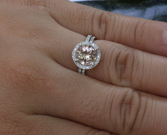 Round Morganite Engagement Ring and Diamond Wedding Band