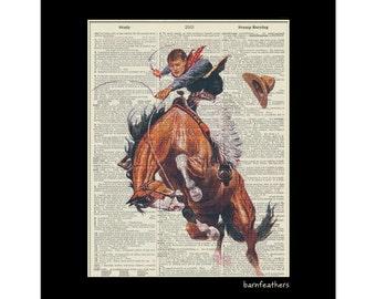 Vintage Dictionary Art Cowboy Bucking Horse Print Book Page Art Print No. P37