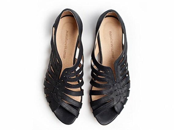 Gilly black flat sandals By Tamar Shalem