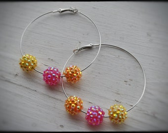 Beautiful Silver colored Hoops adorned with Orange, Rose and Yellow  sparkly acrylic Pave beads