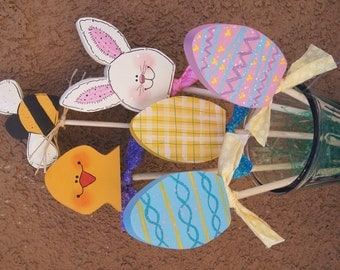 Easter Bouquet ( Set of 4 ) - Wood Plant Pokes - Bees - Bunnies - Chicks - Eggs
