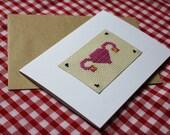 Funny Uterus Cross Stitch Card- Birthday