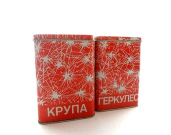 Set of 2 Vintage tin boxes Canister Storage boxes Soviet Vintage kitchen decor made in USSR in 1980s