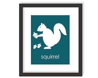 Squirrel Nursery Art Print, Woodland Animal, Forest Bedroom, Woodland Creature, Childrens Decor, Modern Nursery Art, Kids Wall Art