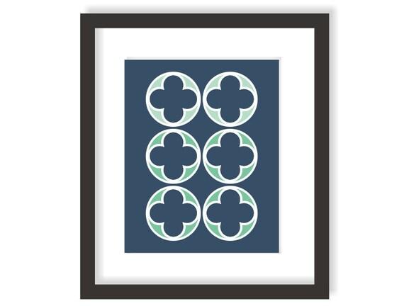 Items similar to quatrefoil decor art print modern wall for Quatrefoil bathroom decor