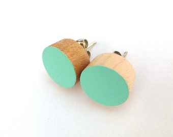 Turquoise earrings, wood stud earrings, mint green earrings, pastel earrings