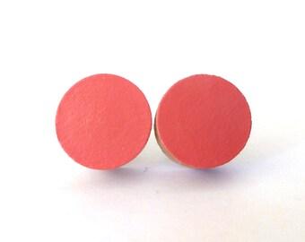 Coral stud earrings, wood post earrings, spring colors, dot earrings, apricot, peach