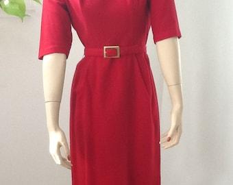 Vintage 60's Eve Carver Originals Red Secretary Dress