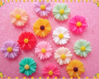 20pcs Mixed color Resin small daisy flowers flatback cabochon 13mm DIY cell phone case decoden