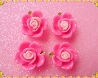 12pcs Hot pink flower resin cabochon 15mm