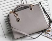 Gray  Leather Tote Bag-Shopper-Laptop-Ipad Bag-Shoulder Bag-Handbag-MESSENGER BAG-Leather Satchel /Briefcase Bag Crocodile /handbags