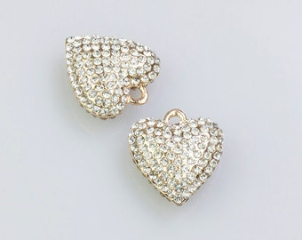 50% OFF Pave Heart Pendant, Gold Bracelet Pendant and Necklace Pendant, with AAA Rhinestones, 18x25mm, Pkg of 1 PCS, C0EH.GO01.P01
