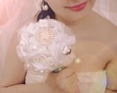 Brooch Bouquet, White and Silver wedding brooch bouquet, Classic heirloom broach bouquet, bridal bouquet, Silver brooch, Swarovski crystals