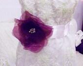 WEDDING- Belt: Bridal Belt,Purple chiffon flowers on a light pink satin belt,Wedding Sash, Bridal Sash,Swarovski