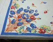 Vintage tablecloth Mid Century print tablecloth vintage linens vintage kitchen