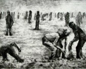 """Haunting Figure Print Dark Creepy Shadows Spooky Hand Pulled Intaglio Fine Art Etching Drypoint """"Some of Them Dig"""""""