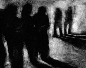 "Haunting Figure Print Black Dark Creepy Spooky Hand Pulled Fine Art Monotype ""Waiting Study No. 4"""