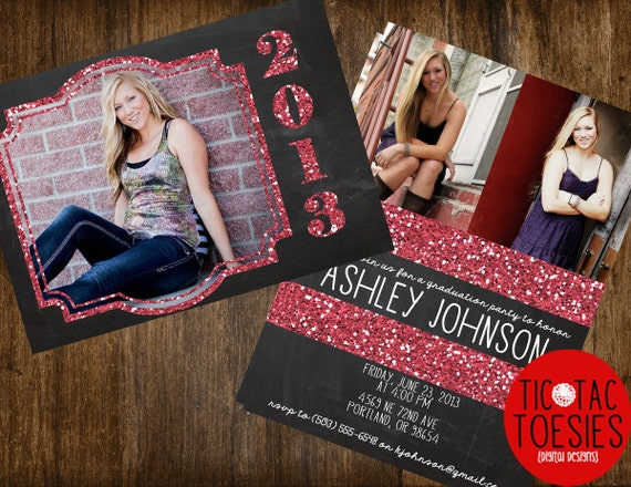Glitter and Chalkboard Graduation Invitation FRONT and BACK