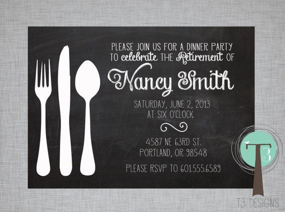 Retirement Party Invitation, Dinner Party invitation, retirement ...