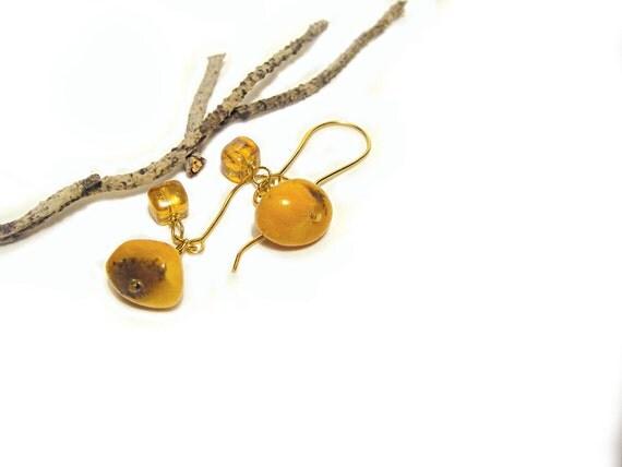 Yellow milky Baltic amber earrings Honey yellow earrings amber  Under 30 Israel art  Free Shipping