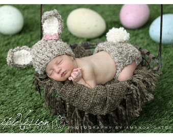 Furry Bunny hat and diaper cover. Easter Bunny hat and diaper cover with pom pom.