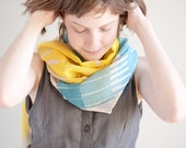 Lemon Yellow and Blue Color Block Spring Scarf, Hand Screen Printed Cotton Gauze Wrap Shawl, Pastel Light Spring Accessories - LeeCoren