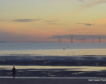 The Iron Men at Sunset, Crosby Beach, Liverpool, UK