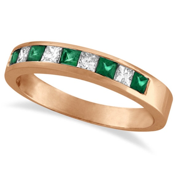 0 73ct princess cut genuine emerald ring band by