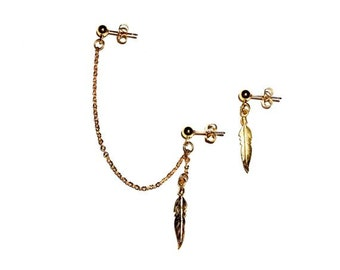 Gold Cartilage Chain Earring Set with Feather Charm - Ear Cuff, Earring Cuff