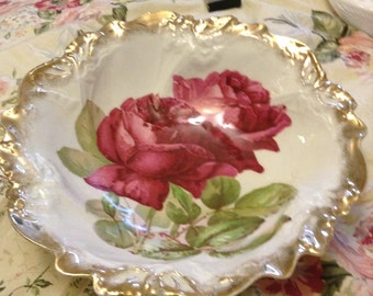 French country shabby chic vintage PS Germany roses gold wedding bowl sign