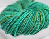 Emerald Green Turquoise Teal Brown - 180 yds - BFL Wool - Handspun Yarn