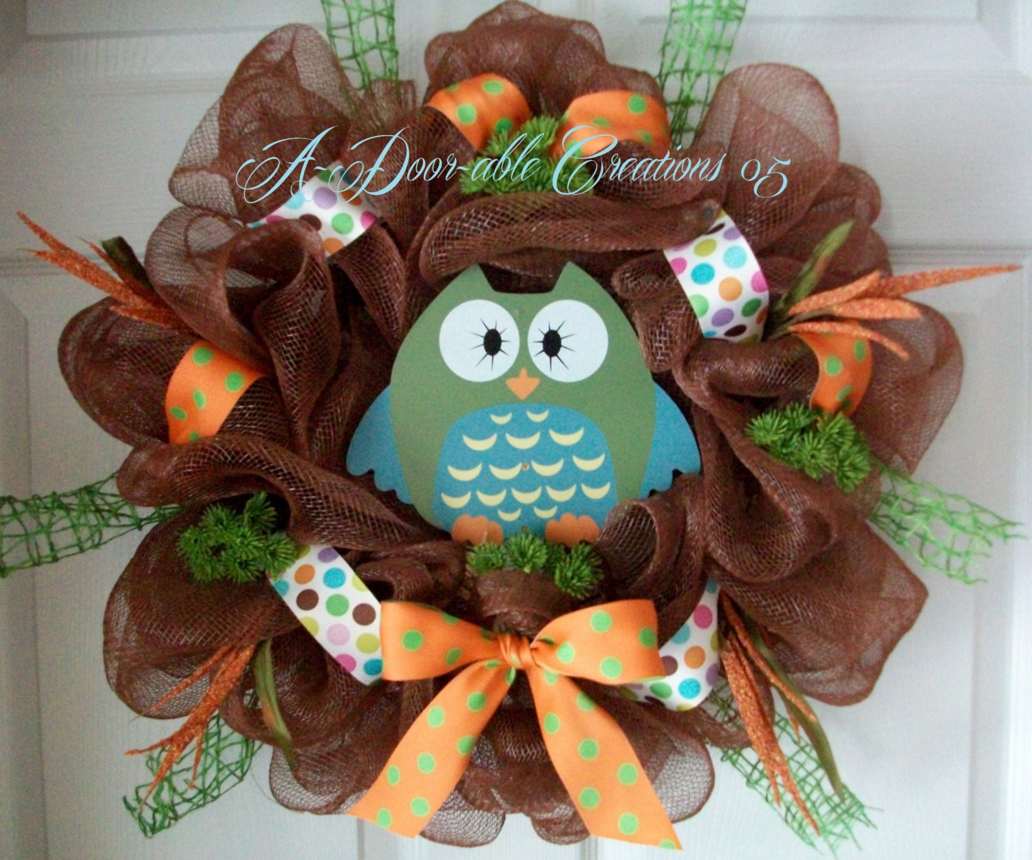 Owl Wreath Deco Mesh