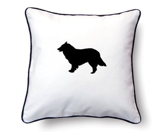 Border Collie Pillow 18x18 - Collie Silhouette Pillow - Personalized Name or Text Optional