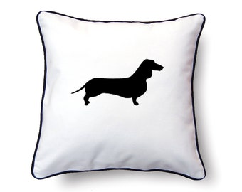 Dachshund Pillow 18x18 - Dachshund Silhouette Pillow - Personalized Name or Text Optional
