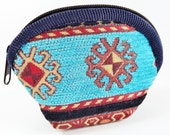 Exotic Rug Carpet Bag Purse - Black, Turquoise & Navy - Shell Shaped - Alternative Jewelry Packaging - No:3 - 1 PC