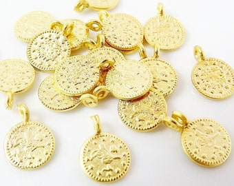 20 Mini Round Coin Charms - Matte Gold Plated