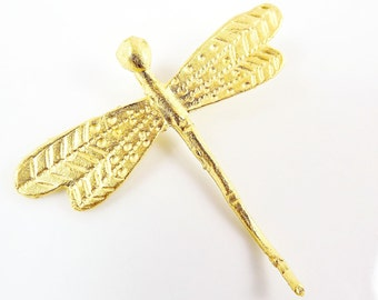 Large Dragonfly Pendant  - Back Loop- 22k Gold Plated