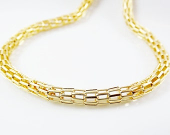 5mm Hollow Mesh Chain - 22k Gold Plated - 1 Meter  or 3.3 Feet