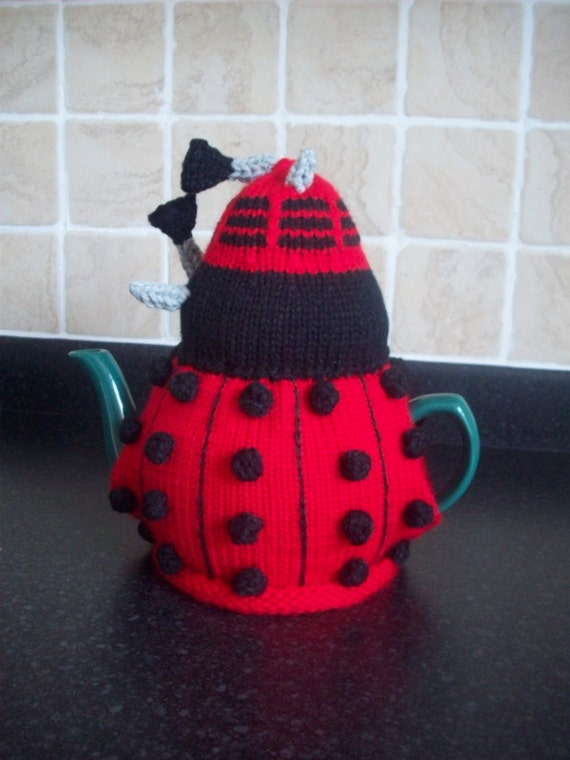 Knitted Tea Cosy Cozy Cosie Red Dalek Dr Who Shabby Chic