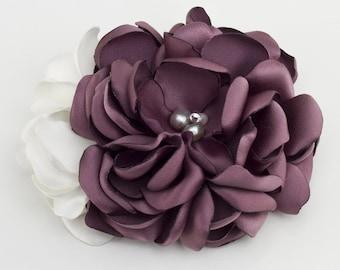 Purple Gardenia hair clip