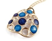 Best Gifts for Her,Blue Gold Bubbles Pendant, Royal Blue Necklace, Circles Necklace, Modern Gold Jewelry, Design Jewelry,Christmas Gift Shop