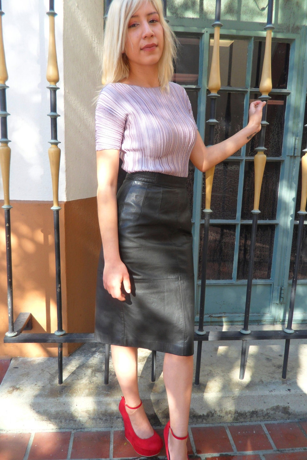 80s Vintage Leather Pencil high waisted skirt