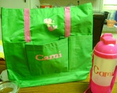 Personalized swimsuit bag with personalizxed Water Glass.