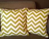 Olive Green Chevron Pillow Set