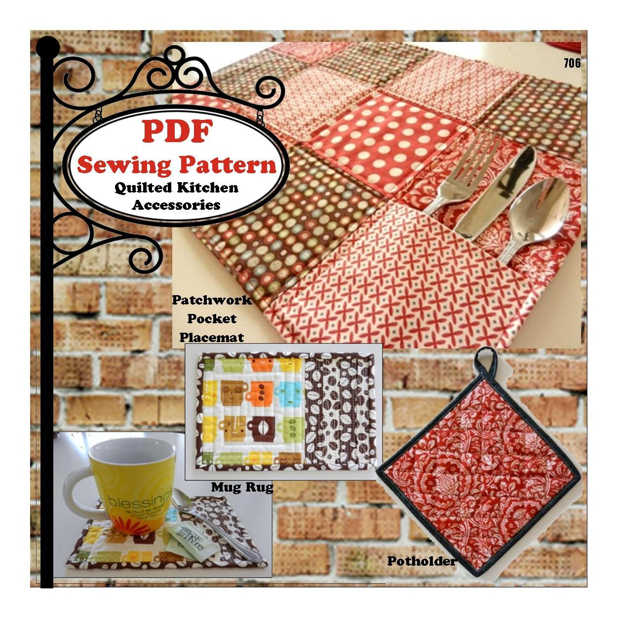 Quilted kitchen accessories pdf pattern from for Quilted kitchen set