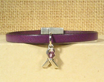 Pancreatic Cancer Awareness Bracelet - 5mm Flat Leather (5A-141m)